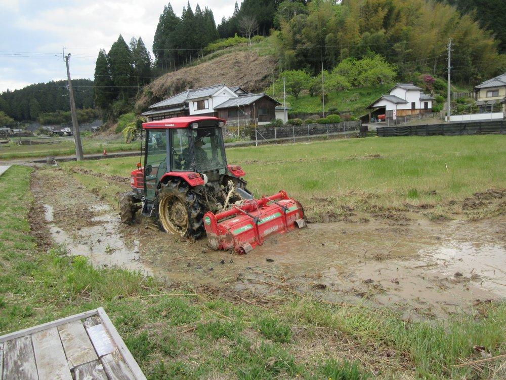 耕運機で田起こし